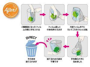 ポリ袋がついた自立式水切り袋